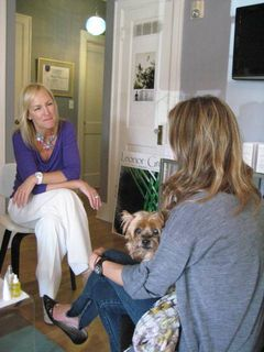 Leonor Greyl's Caroline Brooks consults with a client